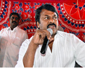 PR chief Chiranjeevi addressing the media in Adilabad